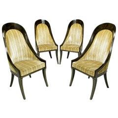 Four Mastercraft Amboyna Burl & Brass Spoonback Dining Chairs