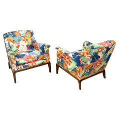 Colorful Chintz Upholstered Club Chairs In The Style Of Wormley