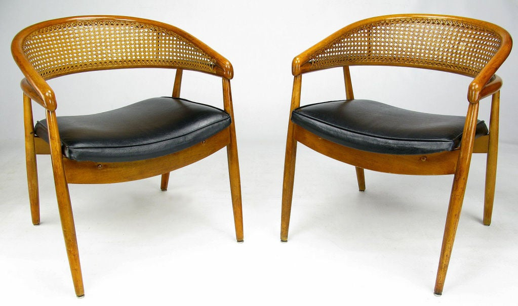 James Mont Style Bent Wood U0026 Cane Arm Chairs 2