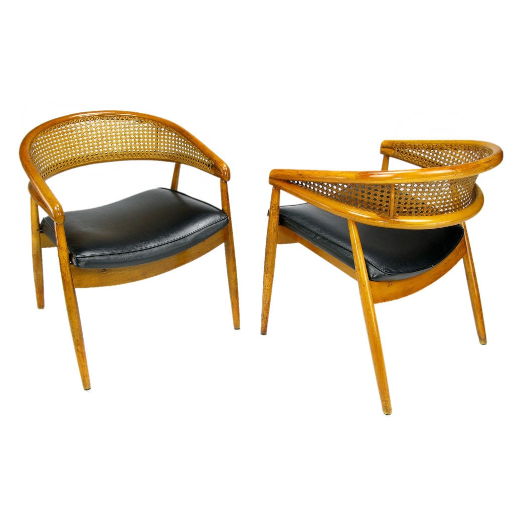 James Mont Style Bent Wood And Cane Arm Chairs At 1stdibs