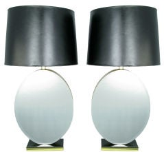 Pair Oval Two-Sided Beveled Mirror Table Lamps