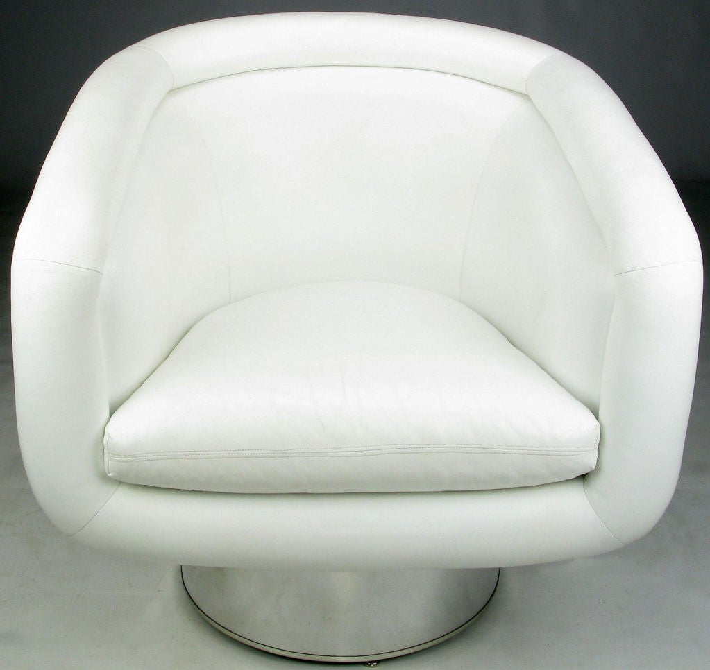 this pace white leather and chrome swivel chairs by leon rosen is no
