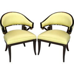 Pair 1940s Mahogany & Yellow Silk Neoclassical  Armchairs