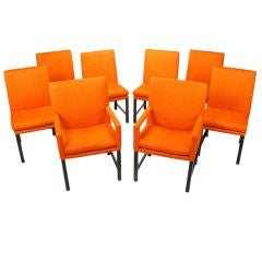 Set Of Eight Milo BaughmanTangerine  Dining Chairs