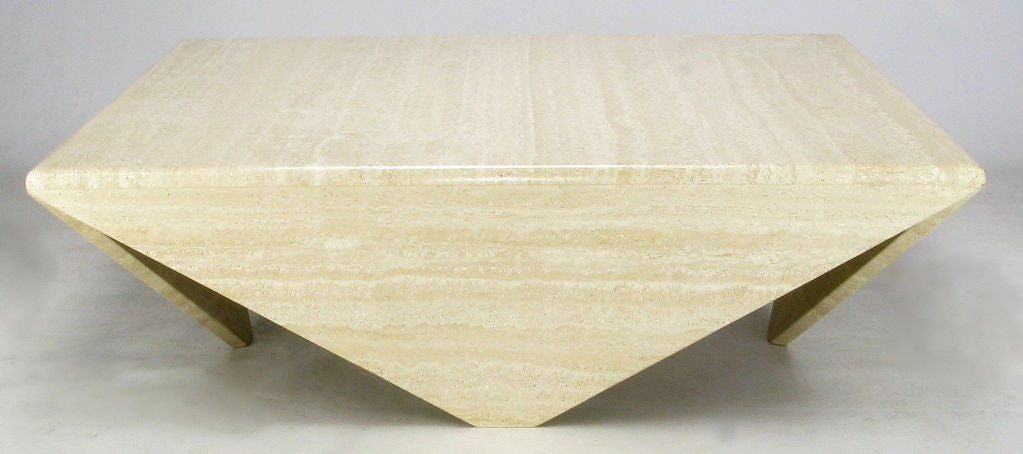 Origami-Form Custom Travertine Marble Coffee Table image 3