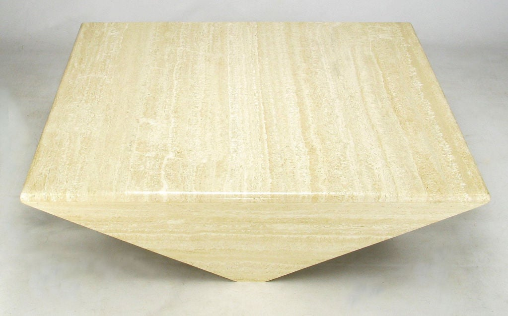 Origami-Form Custom Travertine Marble Coffee Table image 2