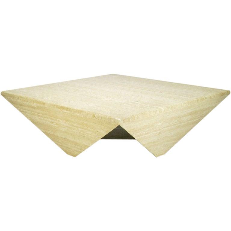 Origami Form Custom Travertine Marble Coffee Table At 1stdibs