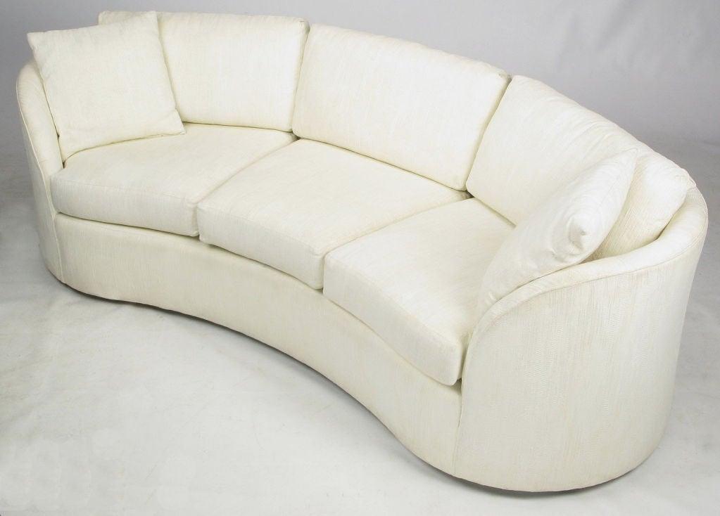 Hekman Art Deco Revival Kidney Shaped Sofa In Creamy Silk