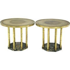 Pair Round Mastercraft Brass And Tooled-Leather Side Tables