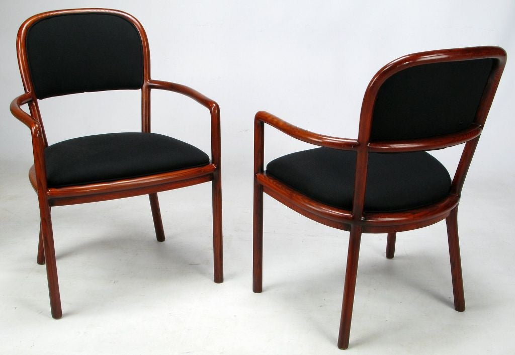Rare Ward Bennett Set Of Four Bent Ash Wood Chairs At 1stdibs