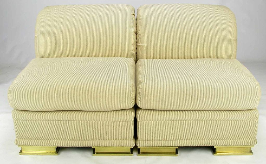 Pair henredon deco revival slipper chairs in taupe silk and brass at 1stdibs for Deco badkamer taupe
