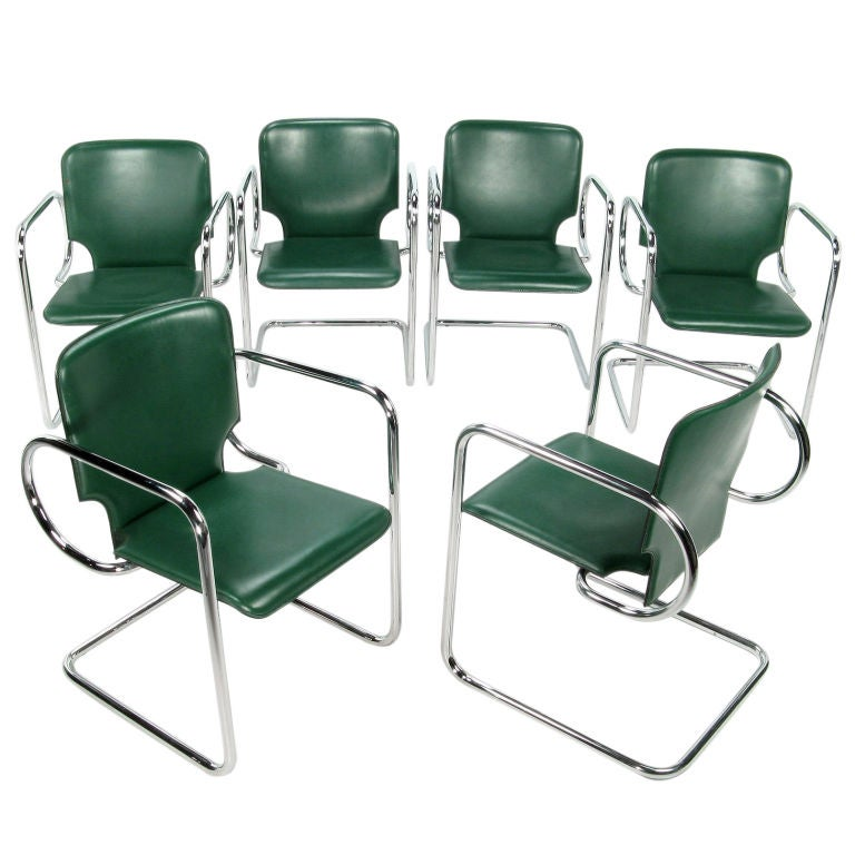 Set Six Italian Green Leather And Chrome Arm Chairs At 1stdibs