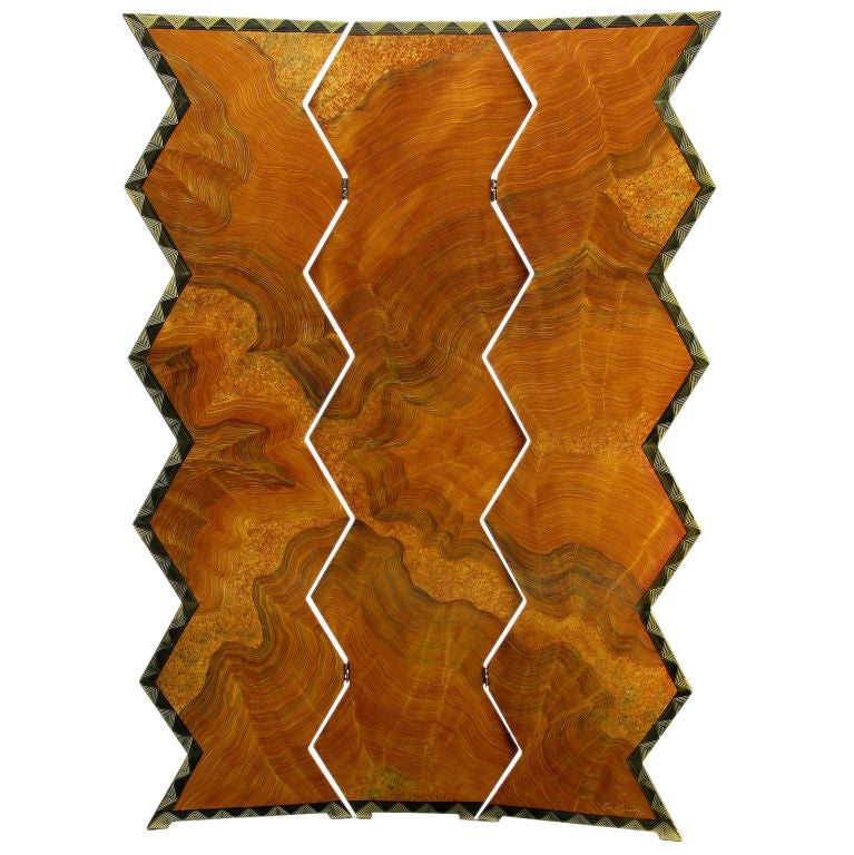 Signed Faux Bois Art Deco Revival Three-Panel Screen