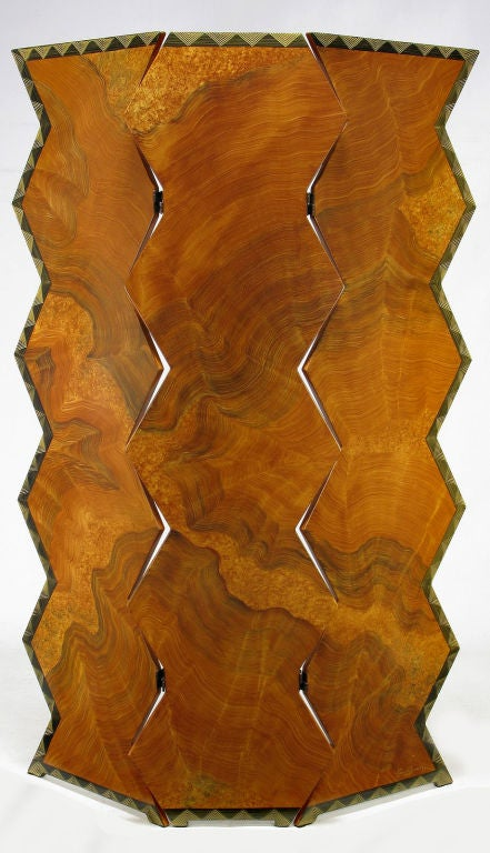 Incredibly lifelike faux bois finish to this postmodernist screen. Three piece screen cut in a zigzag pattern, with an elegant geometric art deco boarder, artist signed.