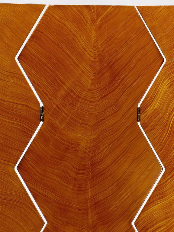 Signed Faux Bois Art Deco Revival Three-Panel Screen 1