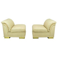 Pair Henredon Deco Revival Slipper Chairs In Taupe Silk & Brass