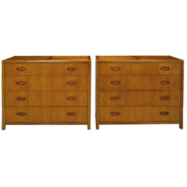 Pair  Michael Taylor New World Walnut Commodes By Baker For Sale