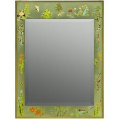 Hand Painted And Brass Framed Chinoiserie Mirror