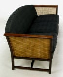 Brazilian Rosewood & Cane Sofa With Black Upholstery image 3