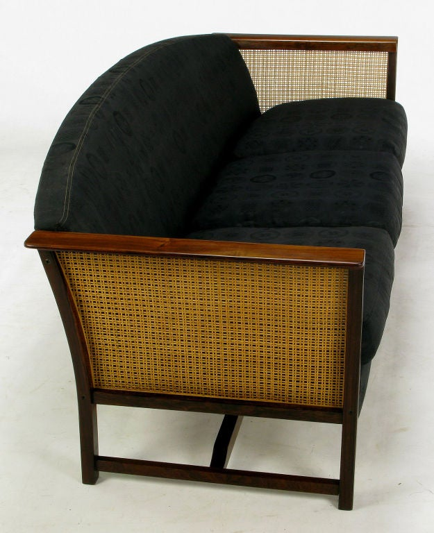 Brazilian Rosewood & Cane Sofa With Black Upholstery 3