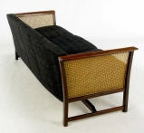 Brazilian Rosewood & Cane Sofa With Black Upholstery image 4