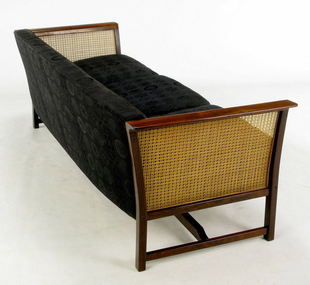Brazilian Rosewood & Cane Sofa With Black Upholstery 4
