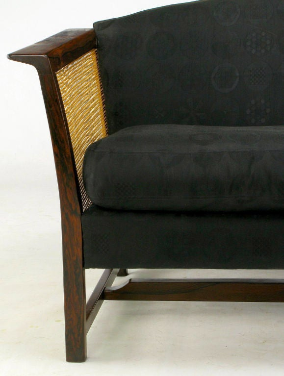 Brazilian Rosewood & Cane Sofa With Black Upholstery 5