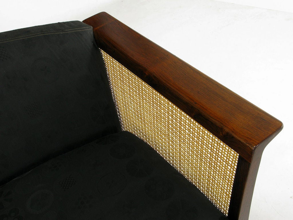 Brazilian Rosewood & Cane Sofa With Black Upholstery 6