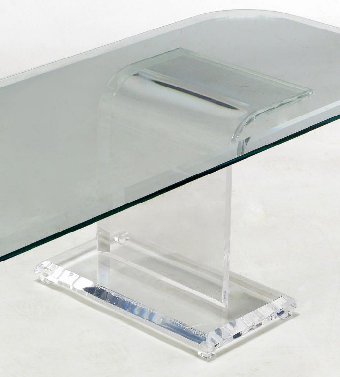 Thick Lucite Base Coffee Table With Rectangular GlassTop