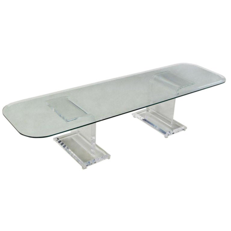 Thick Lucite Base Coffee Table With Rectangular GlassTop At 1stdibs