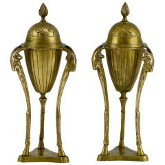 Pair Brass Rams Heads & Hooves Empire Style Incense Burners
