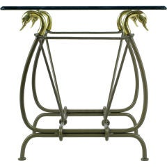 Iron & Glass End Table With Cast Brass Swans Supporting Top
