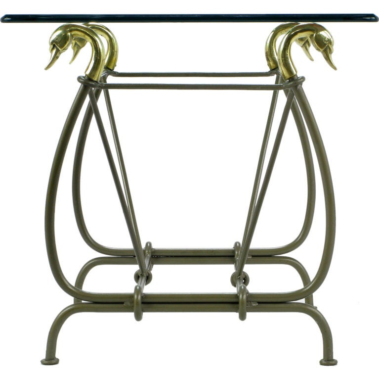 Iron and glass end table with cast brass swans supporting for Cast iron table with glass top