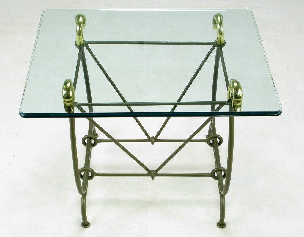 Iron and glass end table with cast brass swans supporting for Cast iron end table