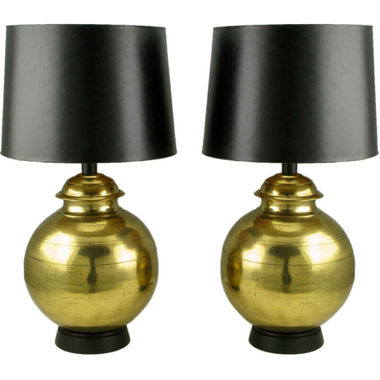 Pair Of Large Spun And Hammered Brass Table Lamps At 1stdibs