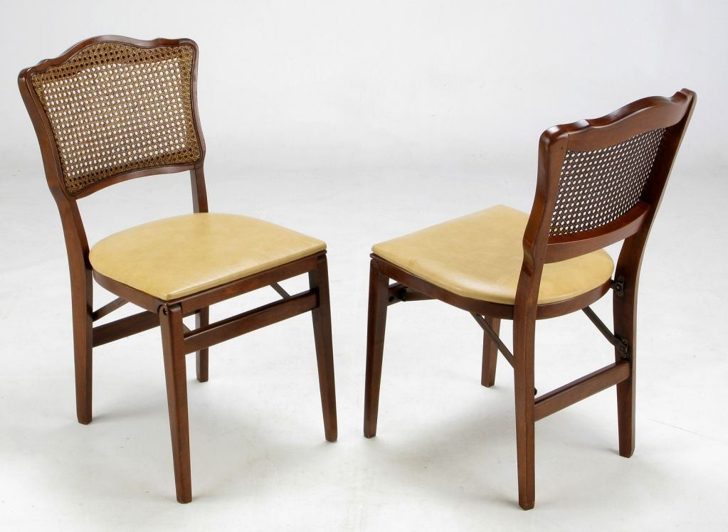 set of four mahogany cane and leather regency folding chairs for sale at 1stdibs. Black Bedroom Furniture Sets. Home Design Ideas