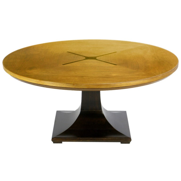 Round Teak Walnut Rosewood Inlaid Pedestal Coffee Table