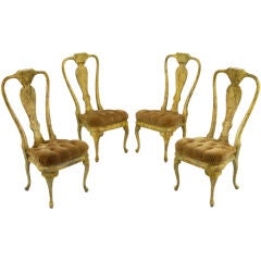 Set Four Phyllis Morris Oil-Drop Lacquered Queen Anne Chairs