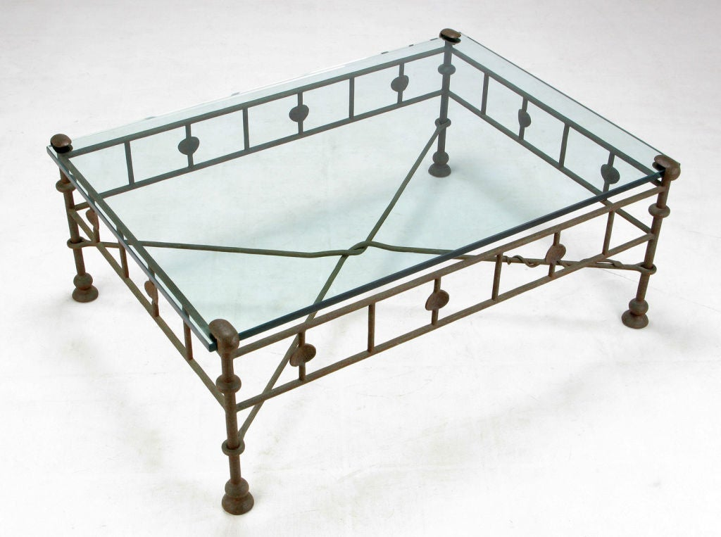 Giacometti style hand wrought iron and glass coffee table for Wrought iron wood and glass coffee table