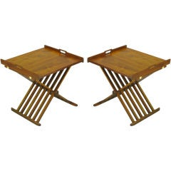 Pair Kipp Stewart Walnut Folding Tray Tables For Drexel