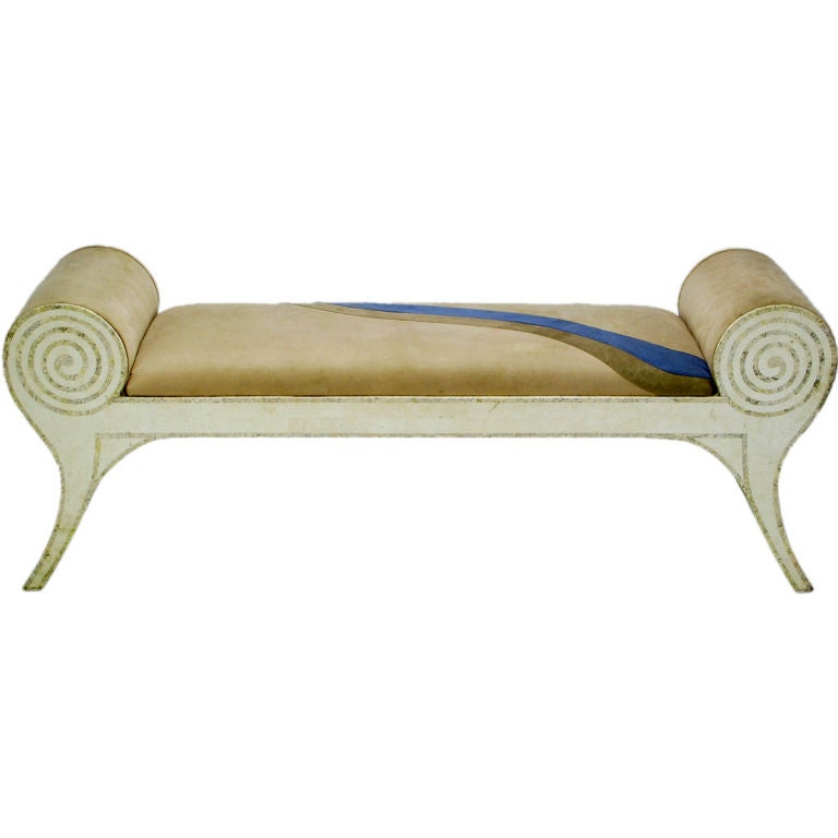 Art Deco Revival Tessellated Stone Rolled Arm Bench At 1stdibs