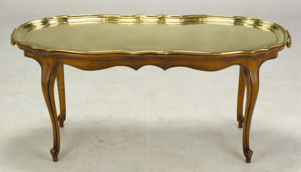 Yale Burge Louis Xv Style Coffee Table With Solid Brass Tray At 1stdibs