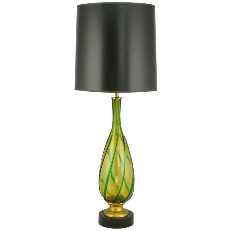 italian amber and green swirled murano glass table lamp for sale at. Black Bedroom Furniture Sets. Home Design Ideas