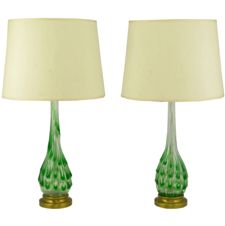 pair green raindrops over clear murano glass table lamps at 1stdibs. Black Bedroom Furniture Sets. Home Design Ideas