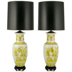 Pair Chinoiserie White And Saffron Glazed Ceramic Table Lamps