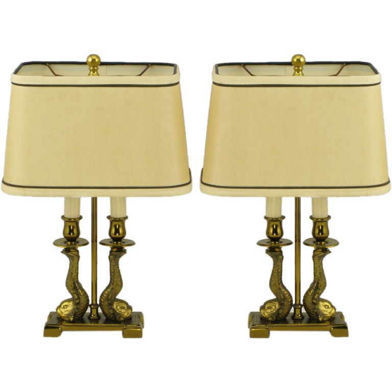 Pair Paul Hanson Solid Brass Twin Dolphin Desk Lamps 1
