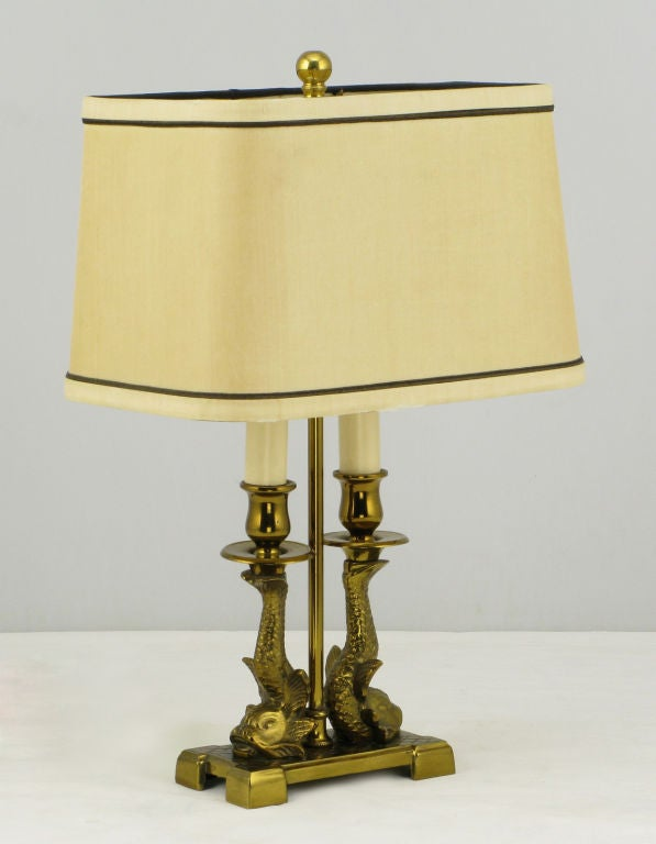 Pair Paul Hanson Solid Brass Twin Dolphin Desk Lamps 2