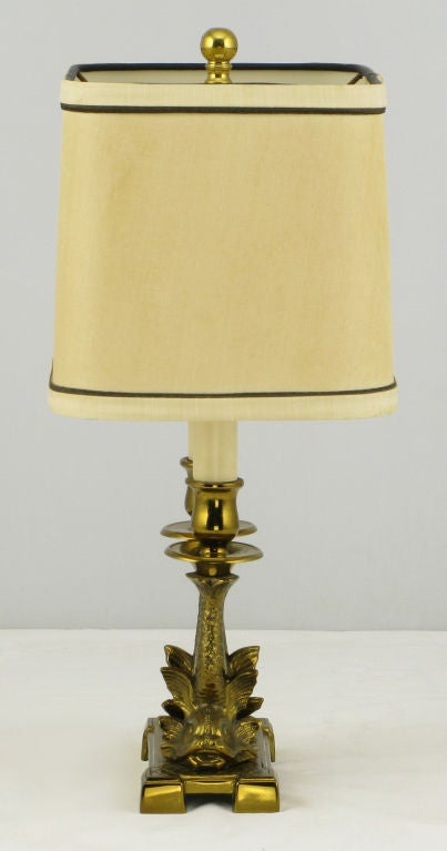 Pair Paul Hanson Solid Brass Twin Dolphin Desk Lamps 3