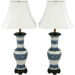 Pair Chinoiserie Blue & White Ceramic Table Lamps