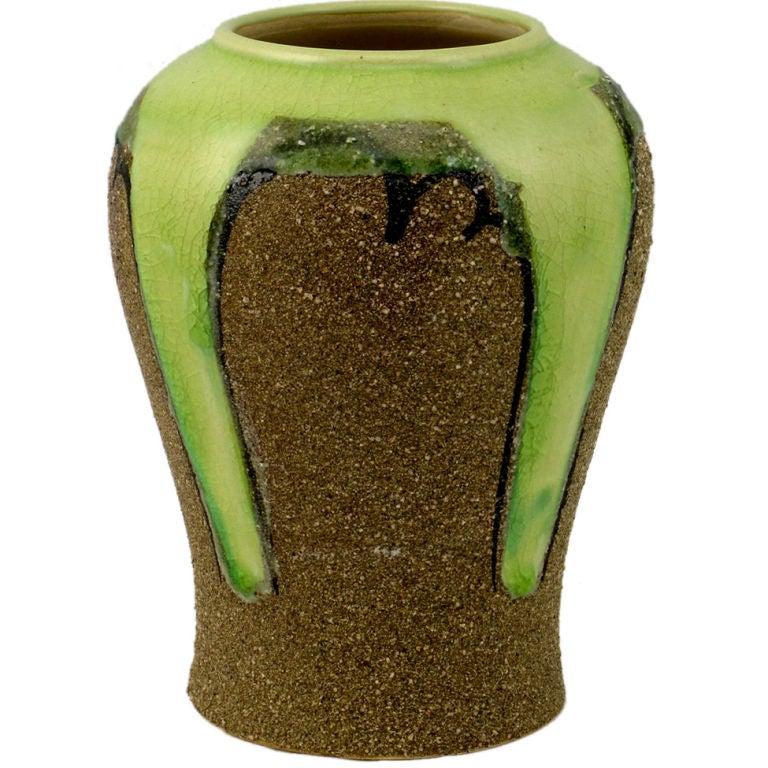 Ginger Jar Shaped Vase In Celery & Rough Sand Glaze